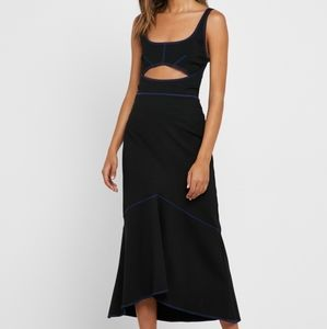 Topshop Black Cut Out Contrast Trim Dress